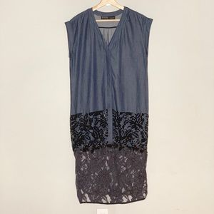 ALL SAINTS chambray beaded lace button up maxi